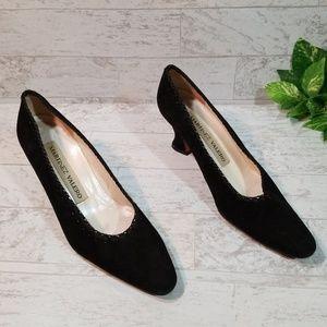 Martinez Valero Black Suede Pumps Heels Sz 8 1/2AA